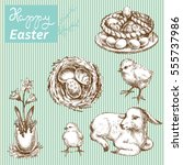 set of easter illustrations.... | Shutterstock .eps vector #555737986