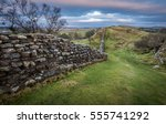 hadrian's wall on the... | Shutterstock . vector #555741292