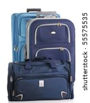 Two travel suitcases and travel bag - stock photo