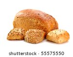Bread and rolls isolated on white - stock photo