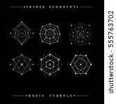 sacred geometry signs. set of... | Shutterstock .eps vector #555763702