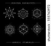 sacred geometry signs. set of... | Shutterstock .eps vector #555763972