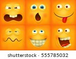 set of emoticons yellow faces... | Shutterstock .eps vector #555785032