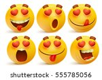 valentines day emoticon icons ... | Shutterstock .eps vector #555785056