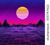 80s Retro Sci-Fi Background with Sun and Mountains. Vector futuristic synth retro wave illustration in 1980s posters style. Suitable for any print design in 80s style.   Shutterstock vector #555797422