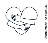 heart hug isolated line icon on ... | Shutterstock .eps vector #555806032