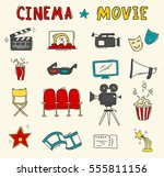 set of hand drawn cinema icons | Shutterstock .eps vector #555811156