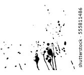 set of black paint  ink  grunge ... | Shutterstock .eps vector #555811486