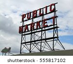 pikes place market in seattle ... | Shutterstock . vector #555817102
