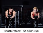 sporty couple exercising at the ...   Shutterstock . vector #555834358