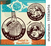 label set of chef and halal... | Shutterstock .eps vector #555836956