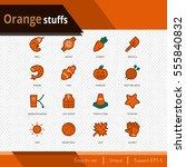 orange stuffs vector icons set... | Shutterstock .eps vector #555840832