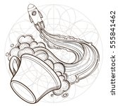 a sketch for the painting with... | Shutterstock .eps vector #555841462