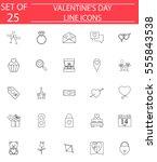happy valentine's day line... | Shutterstock .eps vector #555843538