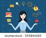 flat design vector illustration ... | Shutterstock .eps vector #555844285