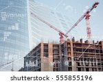 constructions site collage of a ...   Shutterstock . vector #555855196