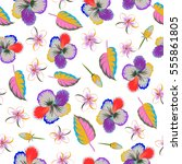 tropical floral seamless... | Shutterstock .eps vector #555861805