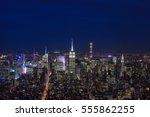 new york city and manhattan... | Shutterstock . vector #555862255