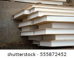 glued solid pine slices wafer... | Shutterstock . vector #555872452