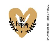 be happy brush typography... | Shutterstock .eps vector #555874522