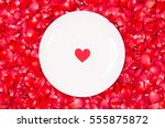 Heart On White Plate With Red...