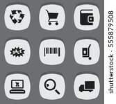 set of 9 editable trade icons.... | Shutterstock . vector #555879508