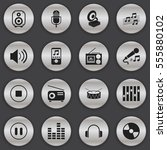 set of 16 editable sound icons. ... | Shutterstock . vector #555880102