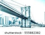 manhattan bridge in new york... | Shutterstock . vector #555882382