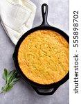 Stock photo cornbread in cast iron pan 555898702