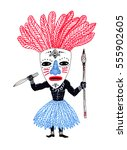 african aborigine with a knife... | Shutterstock . vector #555902605