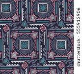 handdrawn ethnic ornamental... | Shutterstock .eps vector #555913906