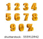 3D Golden-Yellow Metallic Letter. Percent, 0, 1, 2, 3, 4, 5, 6, 7, 8, 9 numeral alphabet. Vector Isolated Number. | Shutterstock vector #555913942