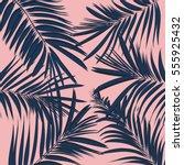 vector summer exotic floral... | Shutterstock .eps vector #555925432