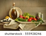 still life with ingredients for ... | Shutterstock . vector #555928246