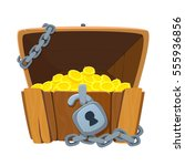 treasure chest for game. dower... | Shutterstock .eps vector #555936856