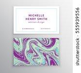 vector marbling business card. | Shutterstock .eps vector #555939556