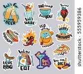 set of food and drink stickers... | Shutterstock .eps vector #555959386