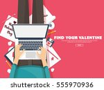 flat background with paper ... | Shutterstock .eps vector #555970936