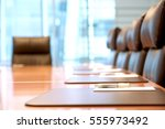 closeup of an empty conference... | Shutterstock . vector #555973492