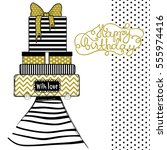 happy birthday greeting card ... | Shutterstock .eps vector #555974416
