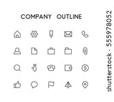 company outline icon set   home ... | Shutterstock .eps vector #555978052