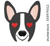 boston terrier dog emoji happy... | Shutterstock .eps vector #555979312