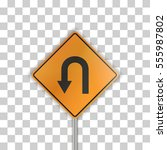 orange road sign with arrow on... | Shutterstock .eps vector #555987802