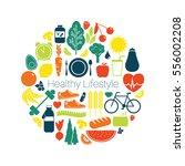 healthy lifestyle   vector... | Shutterstock .eps vector #556002208