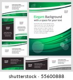 Stylish modern green business backgrounds and cards - templates collection - stock vector