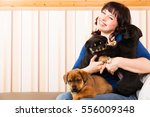 Stock photo young woman playing with puppies 556009348
