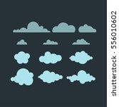 cloud in dark sky vector icon.... | Shutterstock .eps vector #556010602