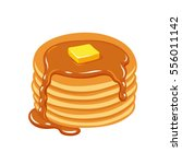 stack of pancakes with maple... | Shutterstock .eps vector #556011142