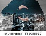 double exposure of businessman... | Shutterstock . vector #556055992