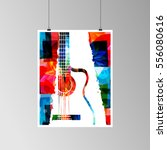 colorful acoustic guitar vector ... | Shutterstock .eps vector #556080616